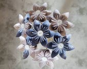 Individual origami powder blue and cream patterned flowers wedding favours home accessories decoration