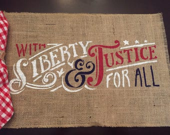 Liberty and Justice Placemats / America Burlap Placemats / Burlap Patrotic Placemats / Americana Placemats / Burlap Placemat / 4th of July