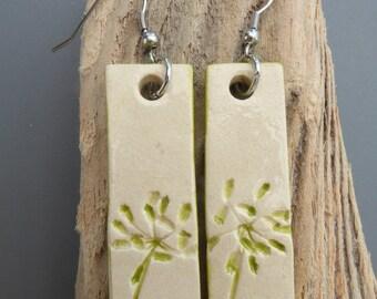 Earrings ceramic #2 green flower print
