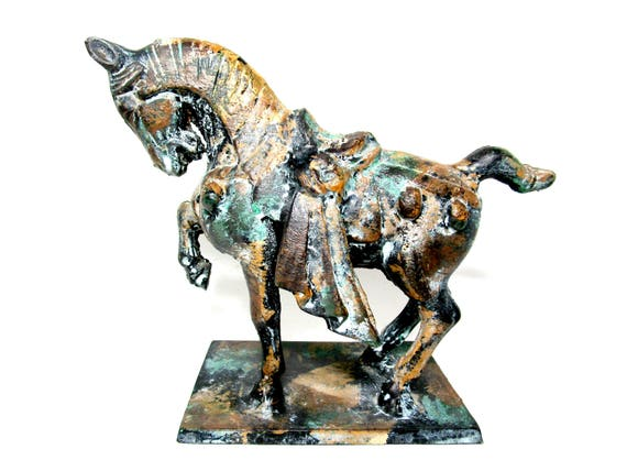 Cast Iron Tang Dynasty Horse Figurine, War Horse Statue, Asian Old World Decor, Toyo of Japan
