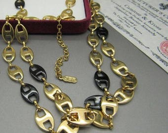 Jackie Kennedy GP Necklace with Black - 24K Anchor Links with Box and Certificate