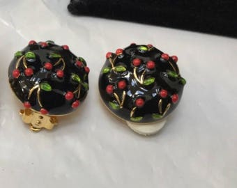 Joan Rivers Clip On Earrings - Button Style Black with Cherries - S2333
