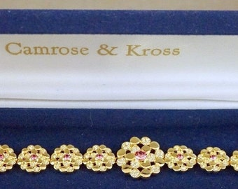 Jackie Kennedy Pink Floral Bracelet - 24K Gold Plated, Box and Certificate - Sz 7 or 8