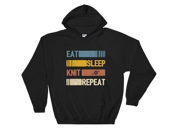 Eat Sleep Knit Repeat Funny Vintage Retro Gift Hoodie