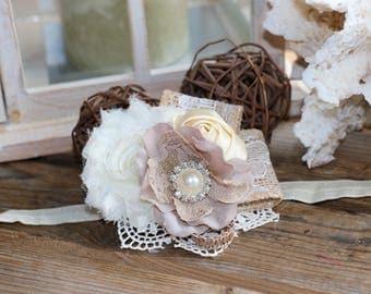 Ivory and taupe hydrangea Headband