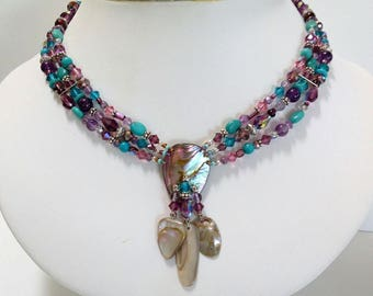 ABALONE TURQUOISE and Amethyst NECKLACE