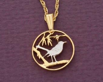 "Cayman Island Thrush Bird Pendant, Cayman Island One Cent Hand Cut, 14 K Gold and Rhodium PLated, 5/8"" in Diameter, ( # 57 )"