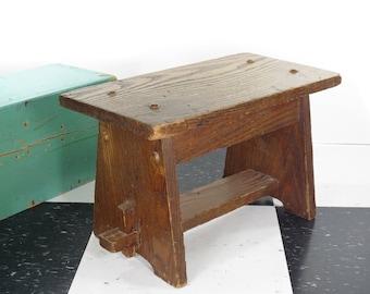 Vintage Wooden Step Stool . Interesting Design . Wormhole Oak . Childu0027s Stool . Plant Stand  sc 1 st  Etsy & Wooden step stool | Etsy islam-shia.org