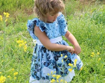 Buy 2 get 1 free..Ruthie's Picnic Dress Girls Retro Ruffled Flutter Bodice ..Instant Download PDF Sewing Pattern, 3-6M to 12