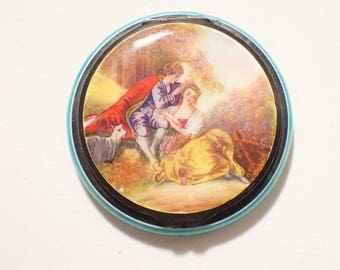 Sterling Hand Painted Lovers Scene Guilloche Enamel Powder Compact