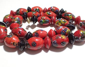 Venetian Millefiori Murano Red Glass Barrel and Disc Bead Necklace