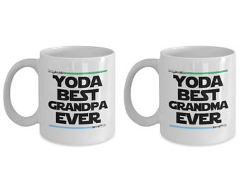 Yoda Best Grandpa Ever and Yoda Best Grandma Funny Gift for family SET OF TWO Star Wars Nerd Birthday