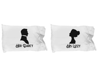 Her Darcy and His Lizzy Pillow Cases SET OF TWO Gift Couples Pride and Prejudice Jane Austen Darcy