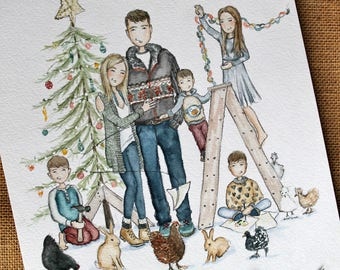 Custom illustration/ Personalized Portrait. Adorable Watercolor, Christmas illustration artwork for custom cards
