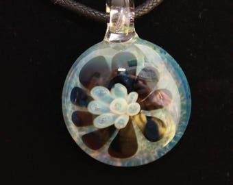 Glass Pendant, Imploded Flower