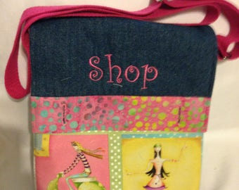 Handmade Cross Body Bag with pockets inside and out. Zipper top