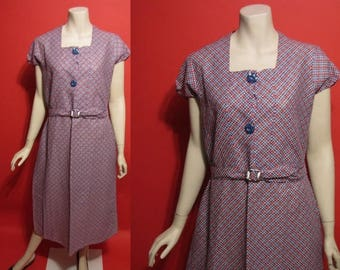 ON SALE Vintage 1930's Feedsack Blue Red Celluloid Deco 30's Ladies Dress - L