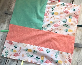 Ribbons blanket, tag blanket, flamingo , pineapple, cactus, coral minky