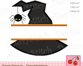 Halloween Split witch hat Halloween Machine Embroidery Design HL0085 -for 4x4 5x7 and 6x10 hoop