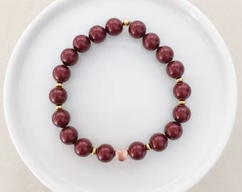 Oxblood & Rose Gold Heart Bracelet