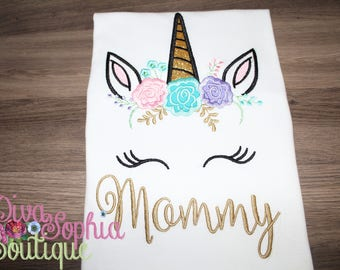 Mommy Unicorn Shirt  - Embroidered Top