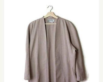 ON SALE Vintage Oatmeal/Light Beige  Slouchy Light  Cardigan /Collarless Blazer from 80's*