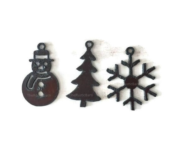 SNOWMAN TREE or SNOWFLAKE any (2) Pendant Cutouts Cross Made of Rustic Rusty Rusted Recycled Metal
