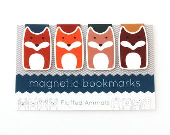 Fox Bookmarks - Magnetic Bookmark Set of 4 - Four Different Foxes - Gift for Book Lovers - Gifts for Her - Woodland Animals