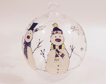 Limited Edition Hand Painted Christmas Snowman Decoration Bauble