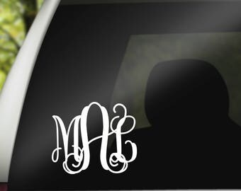 Monogram Vine Scroll Car Decal/Choose Your Color!