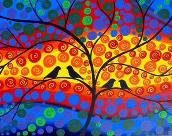 "custom made painting, custom made paintings, tree of life painting, tree paintings, custom, customized, with birds,art, customised, 36""x24"""