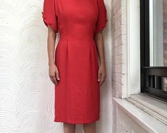 1980s Sheath Dress with Tulip Sleeves