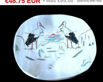 ONSALE Stork ceramic dish, handmade Portuguese pottery, decorative dish, fruit bowl, stoneware salad platter, bird lover gift, clay servi...