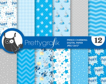 80% OFF SALE Prince charming digital paper, commercial use,  scrapbook papers,  fairytale background - PS875