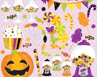80% OFF SALE Halloween Candy clipart commercial use, candy land vector graphics, digital clip art, digital images - CL708