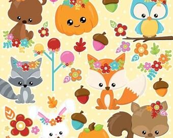 80% OFF SALE Fall animals clipart commercial use, fall pumpkin clipart vector graphics, digital clip art, kawaii digital images - CL1018