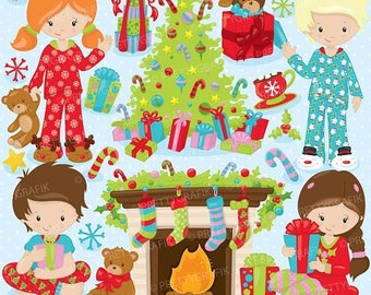 80% OFF SALE Christmas morning clipart commercial use, vector graphics, digital clip art, digital images,  - CL755