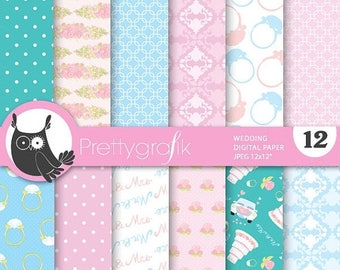 80% OFF SALE Wedding papers digital papers, baby shower commercial use, scrapbook papers, background - PS712