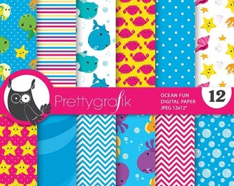 80% OFF SALE Scuba diving digital paper, snorkeling papers commercial use, scrapbook papers, background, sea animals - PS724