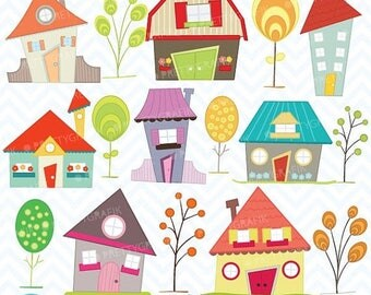 80% OFF SALE House clipart commercial use, vector graphics, digital clip art, digital images - CL397