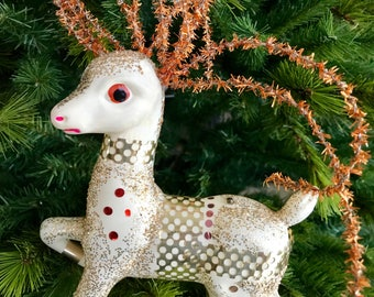 Vintage Blow Mold Plastic Glittered Reindeer Deer Kitsch Christmas Decoration