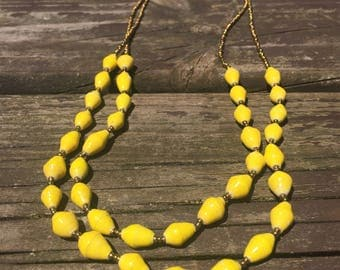 Yellow Double Strand Paperbead Necklace