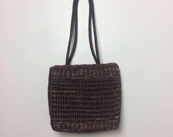 Brown Straw Shoulder Bag/ Summer Tote Straw Bag