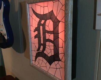 Detroit Tigers D Logo - Mosaic Watercolor Lightbox - Remote Controlled light!