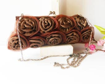 Brown Evening Bag, Floral Design, Vintage Handbag, Brown Floral Purse, Brown Taffeta Purse, Brown Clutch Bag EB-0702