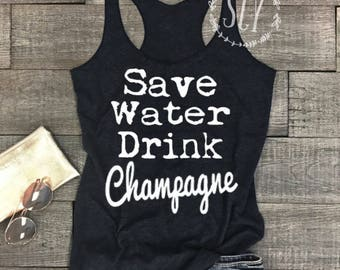 Save Water Drink Champagne - Flowy Womens Tank.