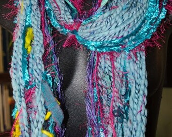 Chunky  Art Yarn Scarf  * Soft  to Skin  * OOAK Hand Spun Plyed Yarn  Merino Alpaca and Leicester Long Wool with Ribbon