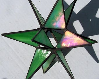 Hanging Moravian Star, Sun Catcher, Stained Glass 3D Star, Small IridescentGreen Star, Christmas Star Ornament, 12 Point Stars, X'mas Gift