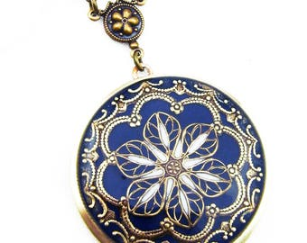 Dark Blue Resin Flower Brass Locket,Gift For Her, Birthday Gift For Her.