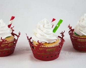 30% OFF: Christmas Holiday Reindeer Red Cupcake / Muffin Wrappers - laser cut lace decorations (set of 12)